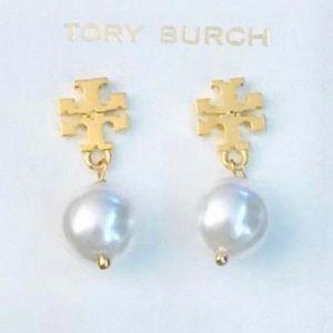 Tory Burch Gold Crystal Pearl Drop Earrings